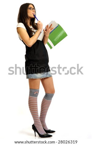 Full body view of young teacher or college student holding copybooks. Isolated on white background.