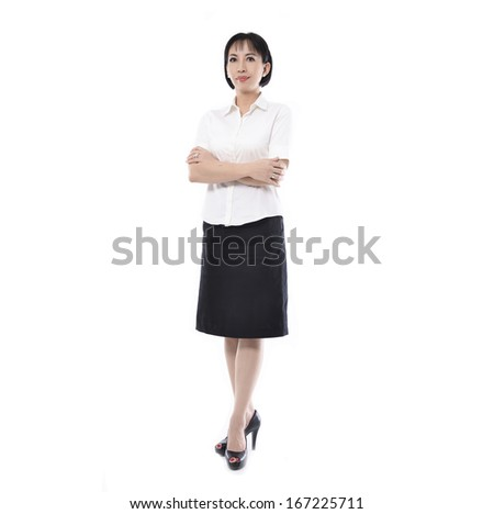 Full body woman portrait . Crossed arms - stock photo