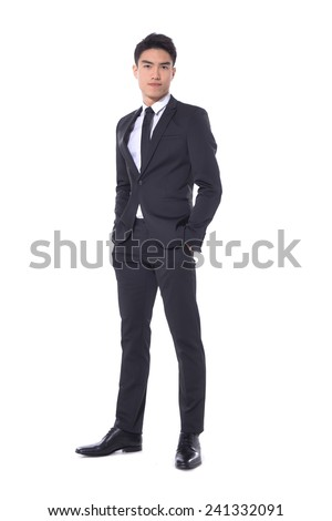 Full body young businessman. Vertical shot. - stock photo