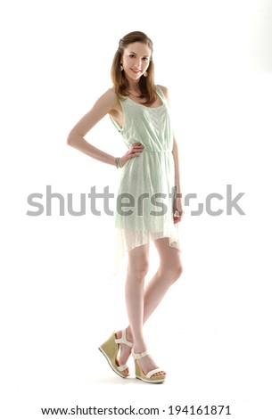 Full body young casual woman style isolated posing in studio