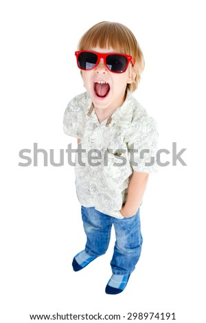 Full body Young cute little boy shouts with red sunglasses and one hand in pocket of jeans, Isolated on white background, Positive human emotion, facial expression - stock photo