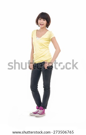 Full body young leisure woman in standing posing - stock photo