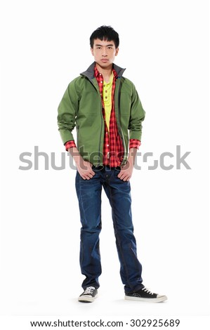 Full body young man Casual standing with hands in pockets - stock photo