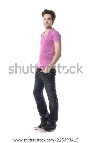 Full body young Man in Casual Clothes - stock photo