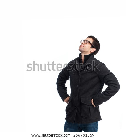 full body young man looking up over white background - stock photo