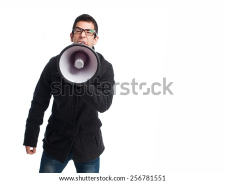 full body young man shouting with megaphone