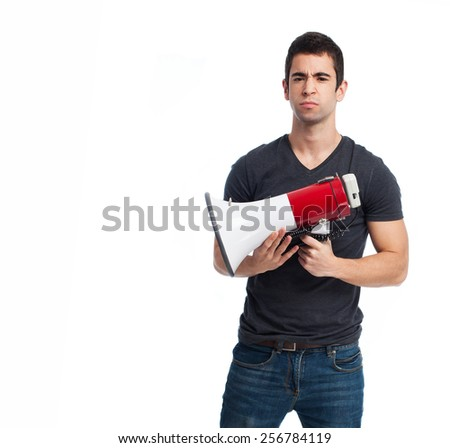 full body young man using a megaphone - stock photo