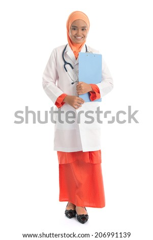 Full body young Muslim female doctor portrait, holding file folder standing isolated on white background. - stock photo