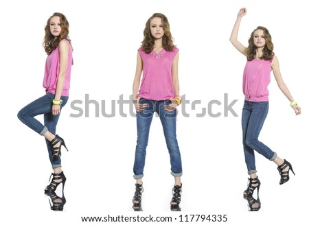 Full body young three woman in jeans posing on white background - stock photo