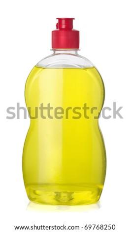 Full bottle  of yellow dish washing liquid isolated on white - stock photo