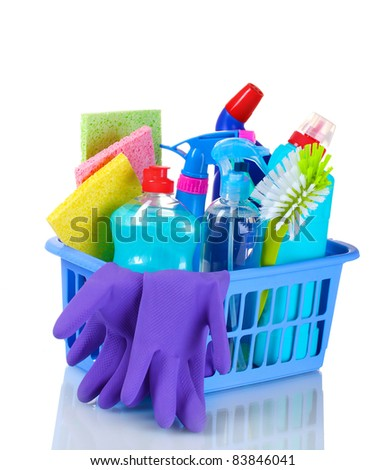 full box of cleaning supplies and gloves isolated on white - stock photo