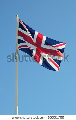 Full british flag on a blue sky