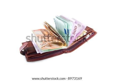 full brown purse on white - stock photo