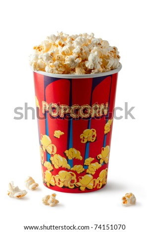 Full bucket of popcorn. Isolated on white. - stock photo