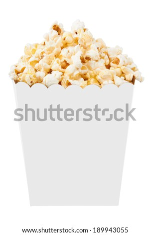 Full bucket of popcorn. Isolated on white background - stock photo