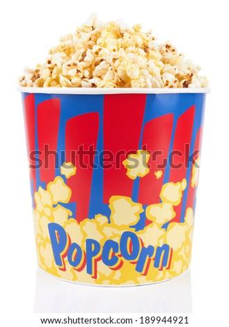 Full bucket of popcorn. Isolated on white background - stock photo