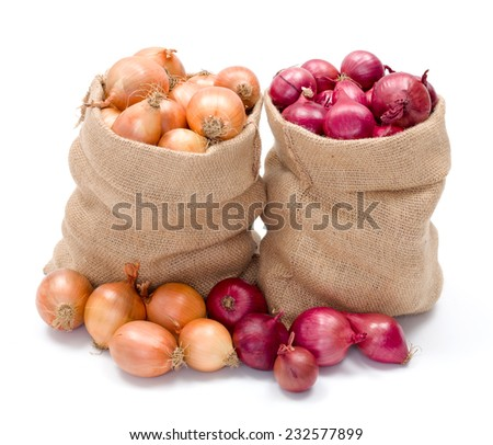 Full burlap bags of red and yellow onions - stock photo
