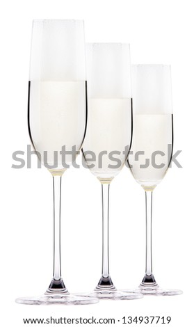 Full  champagne glass with white wine or champagne