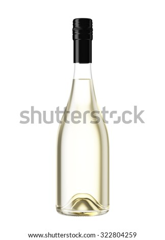 Full Champagne or sparkling wine bottle isolated on white background. Mock up for you design. - stock photo
