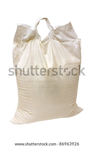 full closed synthetic bag isolated on white background