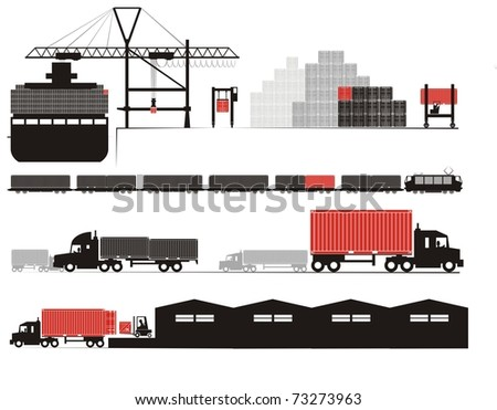 Full container discharge and un-stuffing - Supply chain raster illustration set (Part Three - from full container on board to empty container un-stuffed at the consignee's warehouse) - stock photo