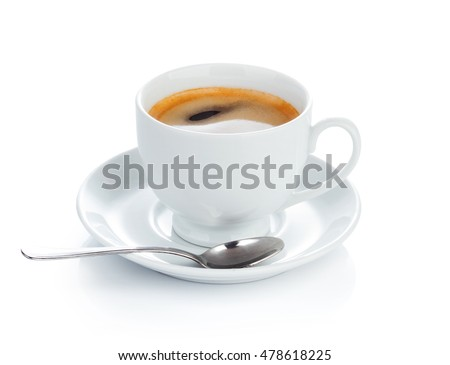 Full cup of hot aromatic coffee on saucer with spoon. Good Morning Coffee Isolated on white background