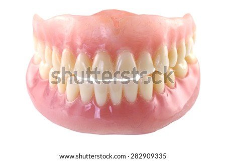 Full denture with clipping path - stock photo