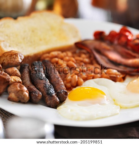 full english breakfast in square composition - stock photo