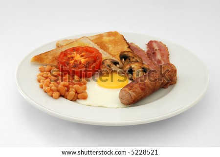 Full English Breakfast – Side View – Plain background - stock photo