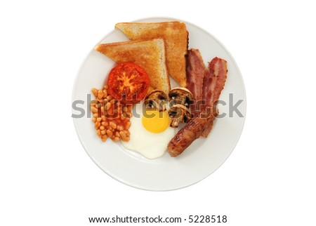 Full English Breakfast – Top View – Isolated on White Background - stock photo
