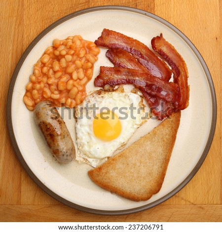 Full English fried breakfast viewed from above - stock photo