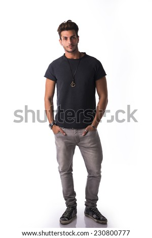 Full Figure Handsome Young Man Standing Stock Photo ...