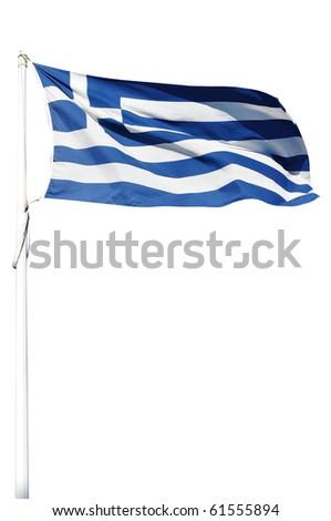 Full flag of Greece isolated on white - stock photo