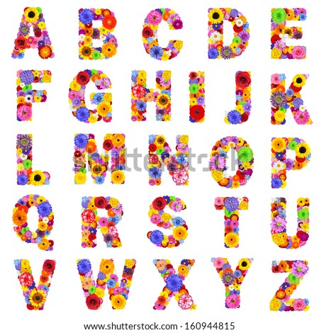 Full Floral Alphabet Isolated on White Background.  Letters A to Z made of many colorful and original flowers - stock photo
