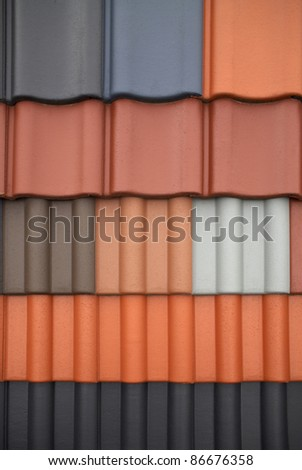 full frame abstract roof tile pattern - stock photo