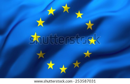 Full frame background of European Union flag blowing in the wind - stock photo