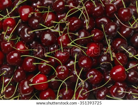 full frame background showing lots of red cherries - stock photo