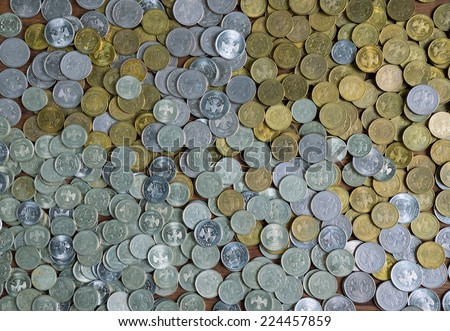full frame background with mixed coins. Russian rubles - stock photo
