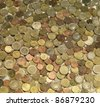 full frame background with mixed euro coins - stock photo