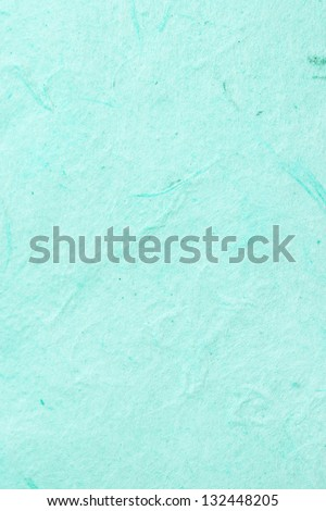 Full frame close up view of a hand made old piece of green textured paper with organic elements. - stock photo