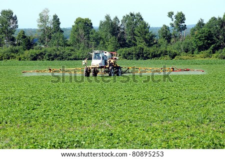 Full frame front view of tractor spraying pesticides on soy bean crop - stock photo