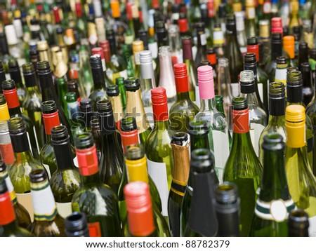 Full Frame of empty bottles - stock photo