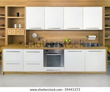Full frame of simple modern kitchen - stock photo