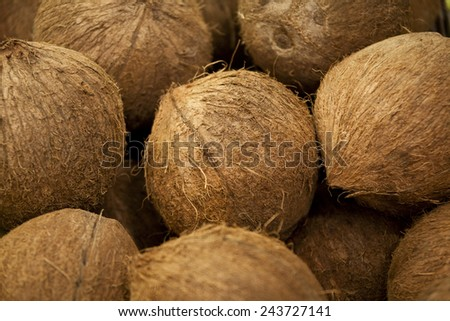 Full frame pile of coconuts - stock photo