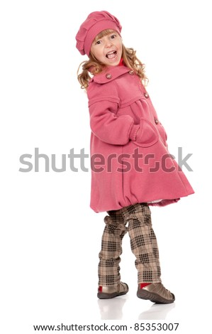Full-frame pretty little girl. Isolated on white background. - stock photo