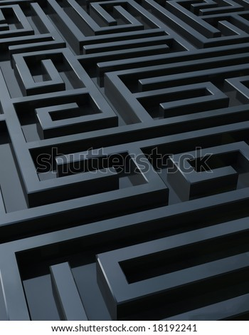 Full frame rendering of a dark maze