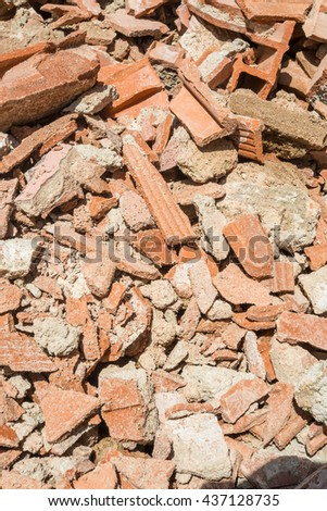 Full frame take of demolition rubble - stock photo