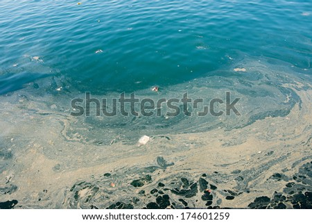 Full frame take of some extremely polluted waters - stock photo