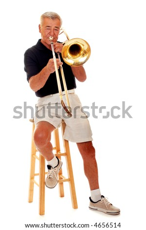 Full front portrait of a senior trombone player.  Isolated on white.