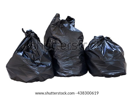 Full garbage bags isolated on white background